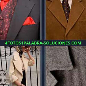 4 Fotos 1 Palabra - seis-letras corbata camisa. Chaqueta pañuelo. Mujer con chaquetón hablando por el celular. Cazadora. Chamarra. Americana o blazer.
