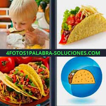 4 Fotos 1 Palabra - cinco-letras Cuatro fotos una palabra tortitas o tortas. Tortilla con comida. Niño comiendo. Dibujo comida. Burrito. Tortitas de maiz.