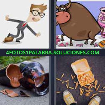 4 Fotos 1 Palabra - siete-letras jarrón roto. Dibujo chico hombre tropezando. Caricatura toro grande. Papas fritas en el suelo.