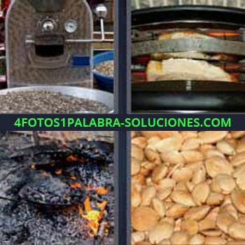 4 Fotos 1 Palabra - cinco-letras almendras. Máquina grande. Pan calentándose. Brasas fuego.