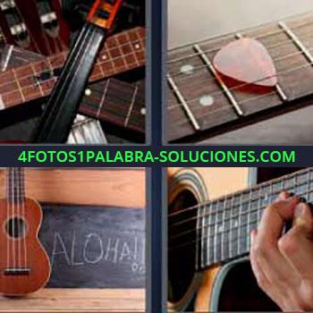 4 Fotos 1 Palabra - seis-letras guitarras. Cuerdas de guitarra. Instrumentos de cuerda. Pua en la guitarra. Aloha!! . Hombre tocando la guitarra acústica.