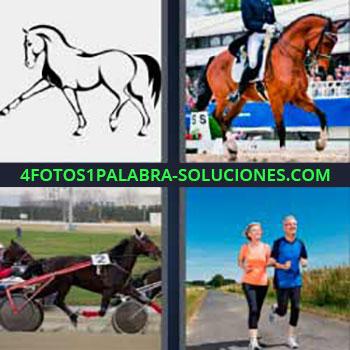 4 Fotos 1 Palabra - siete-letras caballos corriendo. Jinete equitación. Carrera de carros de caballos. Señor y señora corriendo o haciendo footing o running.