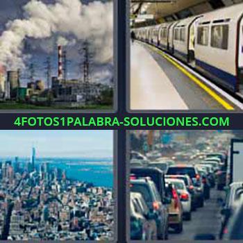4 Fotos 1 Palabra - siete-letras chimeneas con humo. Vagones del metro. Edificios ciudad. Atasco de tráfico.