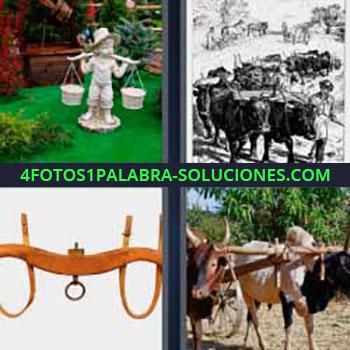 4 Fotos 1 Palabra - seis-letras bueyes. Estatua en el jardín. Dibujo con bueyes arando. Ganado toros o vacas labrando tierra.