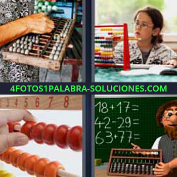 4 Fotos 1 Palabra - sumas restas. Numerador o contador. Tablero. Matemáticas. Números en pizarra.