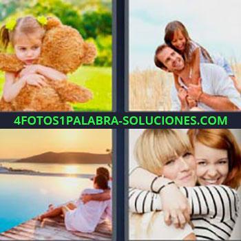 4 Fotos 1 Palabra - niña con oso de peluche. Padre e hija. Pareja sentada frente al lago. Amigas abrazándose