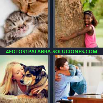 4 Fotos 1 Palabra - siete-letras gatitos. Gata con su gatito. Niña abrazando un árbol. Chica con su perro. Padre e hijo.