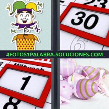 4 Fotos 1 Palabra - cuatro-letras Dibujo arlequín saltando. calendario dia 30. Día 1 en el almanaque. Huevos rosas.