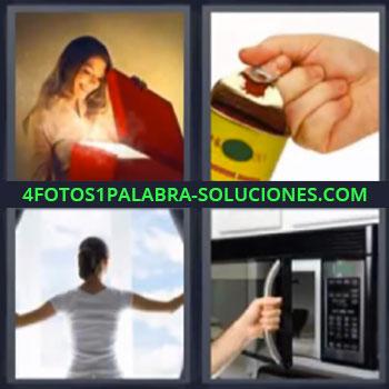 4 Fotos 1 Palabra - microondas, Mujer caja roja con luz, Abriendo lata o bote, Horno microondas