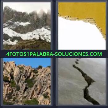 4 Fotos 1 Palabra - montaña grieta. Montaña con nieve. Cartón roto. Montaña con acantilado. Roca rota.