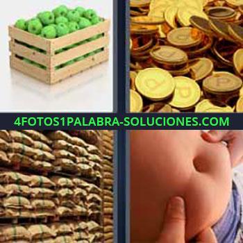 4 Fotos 1 Palabra - siete-letras manzanas verdes caja. Monedas de oro. Almacén con sacos. Barriga.
