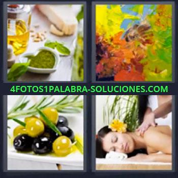 4 Fotos 1 Palabra - seis-letras aceitunas masaje, pinturas de colores, aceites esenciales