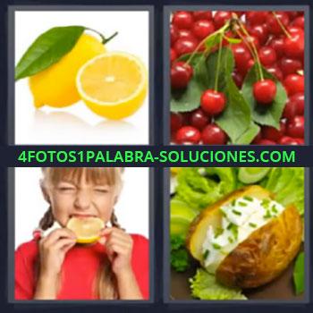 4 Fotos 1 Palabra - siete-letras limon cerezas, niña mordiendo limón, patata con queso y lechuga