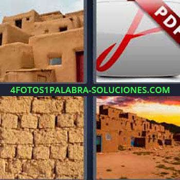 4 Fotos 1 Palabra - siete-letras casas de barro. Archivo pdf. Muro de piedras marrones. Construcciones de arcilla.