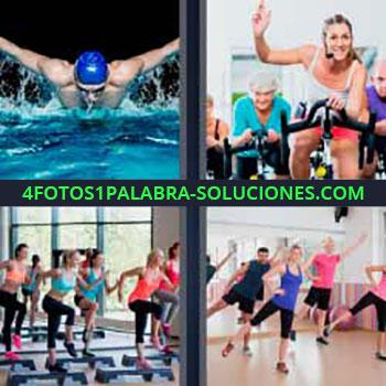 4 Fotos 1 Palabra - nadador. Spinning bicicleta estática. Haciendo deporte en el gimnasio.