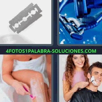4 Fotos 1 Palabra - siete-letras cuchilla de afeitar, mujer depilándose las piernas, mujer afeitando a un hombre, maquinillas de afeitar en azul.