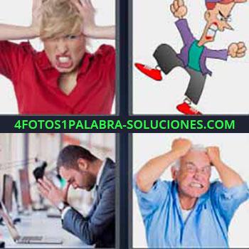 4 Fotos 1 Palabra - mujer tirándose el pelo. Caricatura. Hombre preocupado. Anciano con manos en la cabeza.