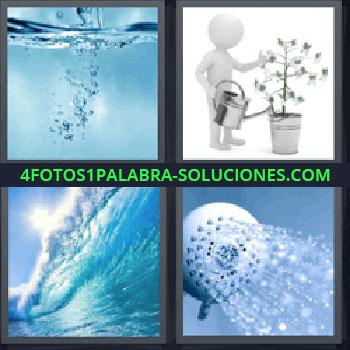 4 Fotos 1 Palabra - regadera, Burbujas dentro del agua, Regar, Ola del mar, Ducha o regadera.