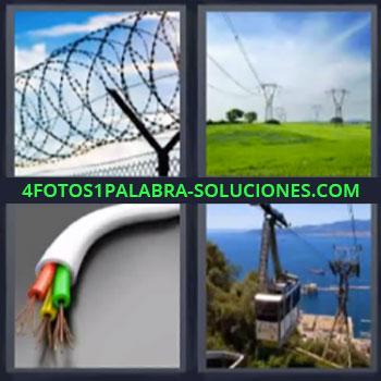 4 Fotos 1 Palabra - siete-letras cable alambrada. Cableado de alta tension. Cables. Telesferico o Telecabina.