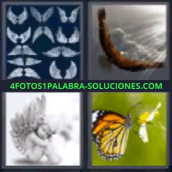 4 Fotos 1 Palabra - siete-letras mariposa en una flor, dibujos, águila con rayos de luz, ángel.