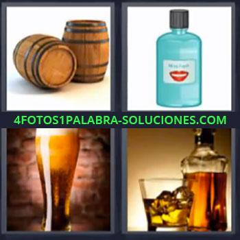 4 Fotos 1 Palabra - ocho-letras barriles cerveza. Botella de enjuague bucal. Vaso de cerveza o caña. Whisky.