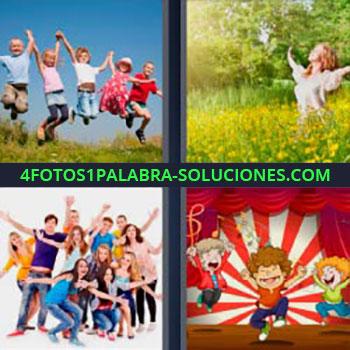 4 Fotos 1 Palabra - niños saltando. Mujer entre flores. Foto de grupo. Caricatura de tres niños