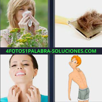 4 Fotos 1 Palabra - mujer sonándose la nariz. Cepillo con pelos. Chica rascándose el cuello. Dibujo o caricatura
