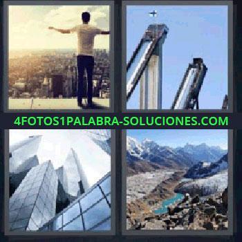 4 Fotos 1 Palabra - rascacielos, hombre en el borde de un edificio, torres, paisaje montañoso.