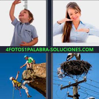 4 Fotos 1 Palabra - siete-letras cigüeña. Niño mirando hacia arriba. Mujer indicando distancia con las manos. Dos personas escalando. Nido cigüeña arriba de un poste eléctrico