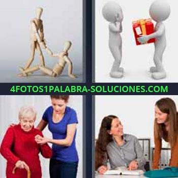 4 Fotos 1 Palabra - muñecos de madera articulados. Muñequitos blancos con caja regalo roja. Mujer ayudando a señora mayor. Dos mujeres en oficina sonriéndose.