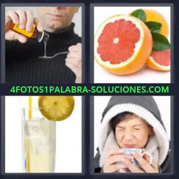 4 Fotos 1 Palabra - cuatro-letras jarabe toronja limonada, Pomelo, Te o infusion
