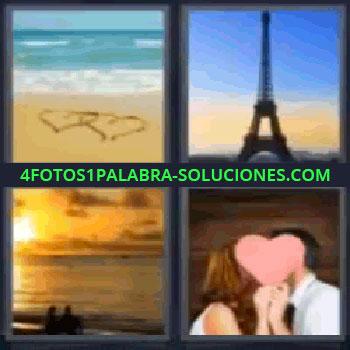 4 Fotos 1 Palabra - torres de París, corazones dibujados en la arena de la playa, Torre Eiffel, pareja viendo puesta de sol, pareja besándose tras un corazón.