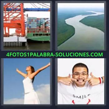 4 Fotos 1 Palabra - siete-letras buque de carga río, Buque porta-contenedores, Mujer vestida de blanco, Chico con los dedos en la boca