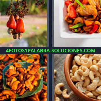 4 Fotos 1 Palabra - semillas o simientes planta. Frutos secos. Nueces o cacahuates tostados. Almendras.