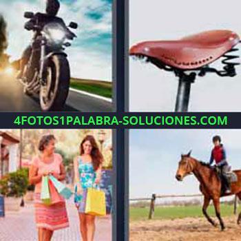 4 Fotos 1 Palabra - moto en la carretera. Sillín bicicleta con muelles. Madre e hija con bolsas de compras. Montando a caballo o equitación.