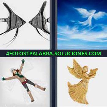 4 Fotos 1 Palabra - peces cielo. Cielo nubes forma de ángel. Recortable dibujo niña. Figura o estatua con alas.