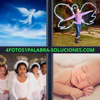 4 Fotos 1 Palabra - nubes forma de angel. Niña con alas. Niñas vestidas de blanco. Bebe dormido.