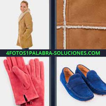 4 Fotos 1 Palabra - cuatro-letras guantes rosas. Mujer con abrigo. Zapatillas azules. Gamuza.