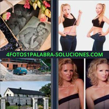 4 Fotos 1 Palabra - cinco-letras fotos antiguas en blanco y negro. Chica que ha adelgazado. Casa en construcción y terminada. Mujer antes y después de tomar el sol