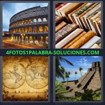 4 Fotos 1 Palabra - cinco-letras libros piramide, Coliseo o anfiteatro romano, Libros viejos, Mapa antiguo, Pirámide.
