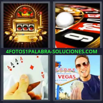 4 Fotos 1 Palabra - seis-letras las vegas ruleta cartas. Maquina tragaperras. Ruleta casino. Ases póquer. Chico en las Vegas.