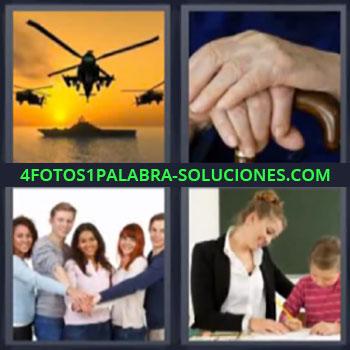4 Fotos 1 Palabra - seis-letras helicopteros atardecer, Mano sobre mano, Maestra o mama ayudando tareas niño