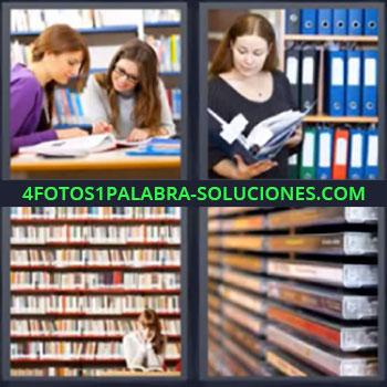 4 Fotos 1 Palabra - siete-letras biblioteca. Chicas estudiando. Mujer leyendo carpeta. Señorita en biblioteca. Cintas de video.