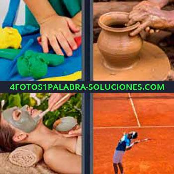 4 Fotos 1 Palabra - cinco-letras jarrón de barro. Plastilina. Modelando jarrón de barro con las manos. Poniendo barro a mujer en la cara. Pista o cancha de tenis.