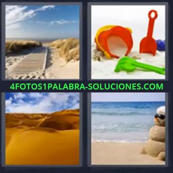 4 Fotos 1 Palabra - siete-letras desierto playa, Cubiletes o juegos playa