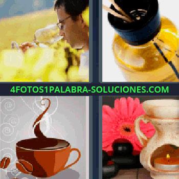 4 Fotos 1 Palabra - cuatro-letras de café, aceite aromático, ambientador de vela junto a flor, hombre en el campo oliendo copa de vino..