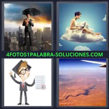 4 Fotos 1 Palabra - seis-letras hombre traje paraguas ciudad, Mujer en una nube, Dibujo o caricatura, Vista desde el avion