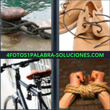 4 Fotos 1 Palabra - zapatos carne. Maroma o cabo de barco. Zapatos y cordoneras. Bicicleta. Manos atadas.