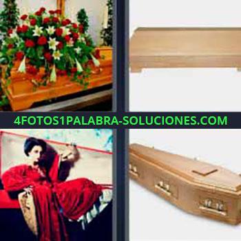 4 Fotos 1 Palabra - ocho-letras féretro y coronas de flores. Caja de madera. Diferentes tipos de ataúd. Mujer vampiro vestida de rojo.