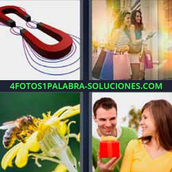 4 Fotos 1 Palabra - ocho-letras dibujo imanes. Dos amigas de compras. Abeja en una flor amarilla. Hombre regalo caja roja a mujer.